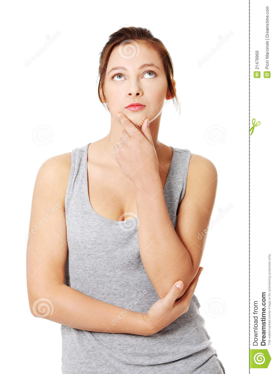Beautiful Teenage Girl Is Thinking And Looking Up. Stock Image ... b73a26e0b