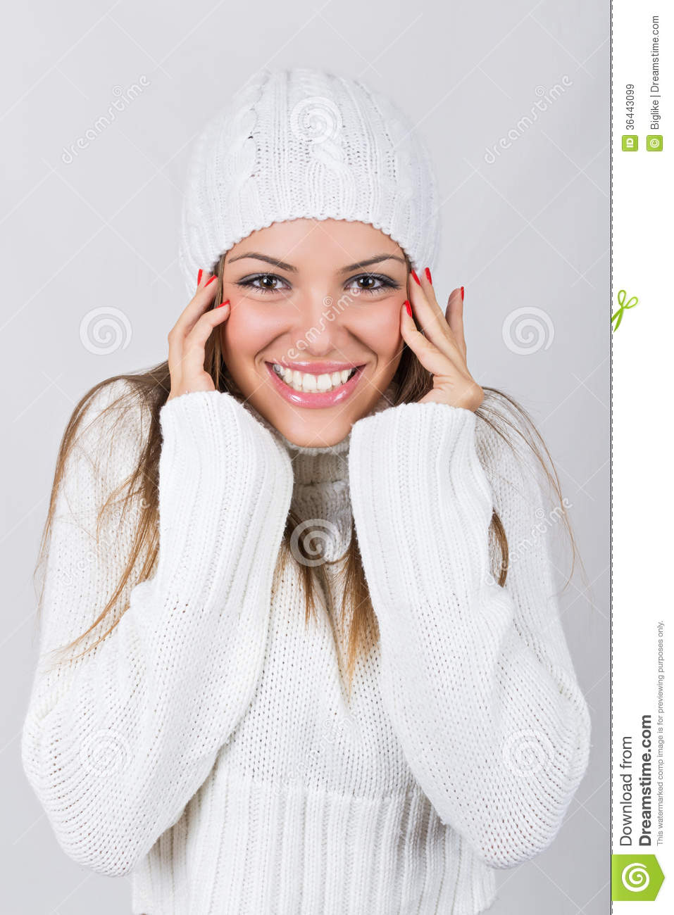 Beautiful Teenage Girl Wearing White Beanie Hat And Sweater Stock ... 7228a4f55d2