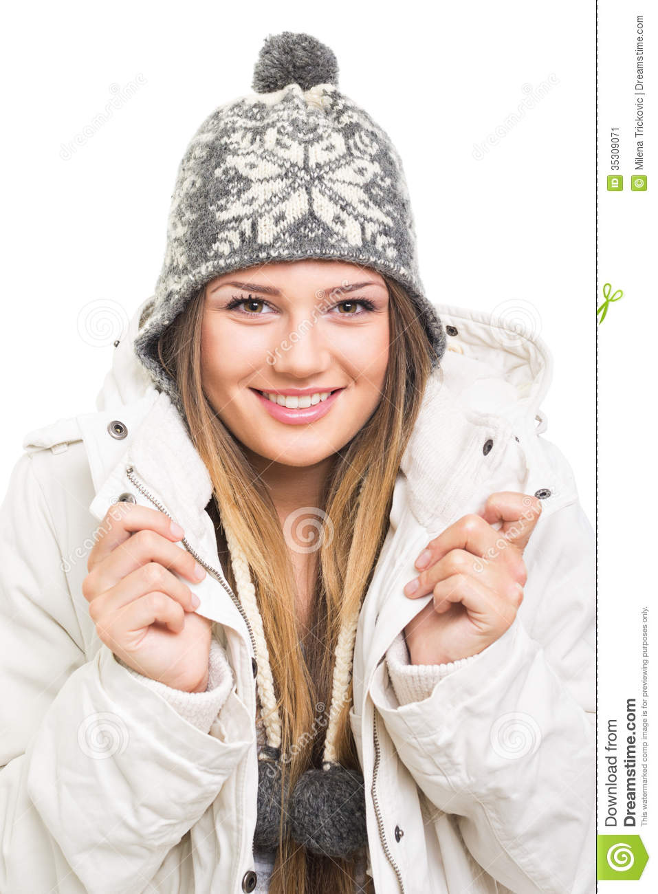 Beautiful Teenage Girl Wearing Winter Jacket And Knitted ...