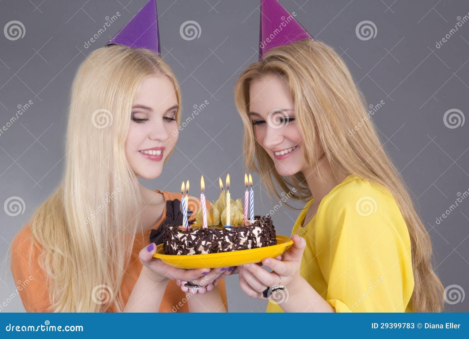Beautiful Teenage Girls Birthday Cake Stock Images