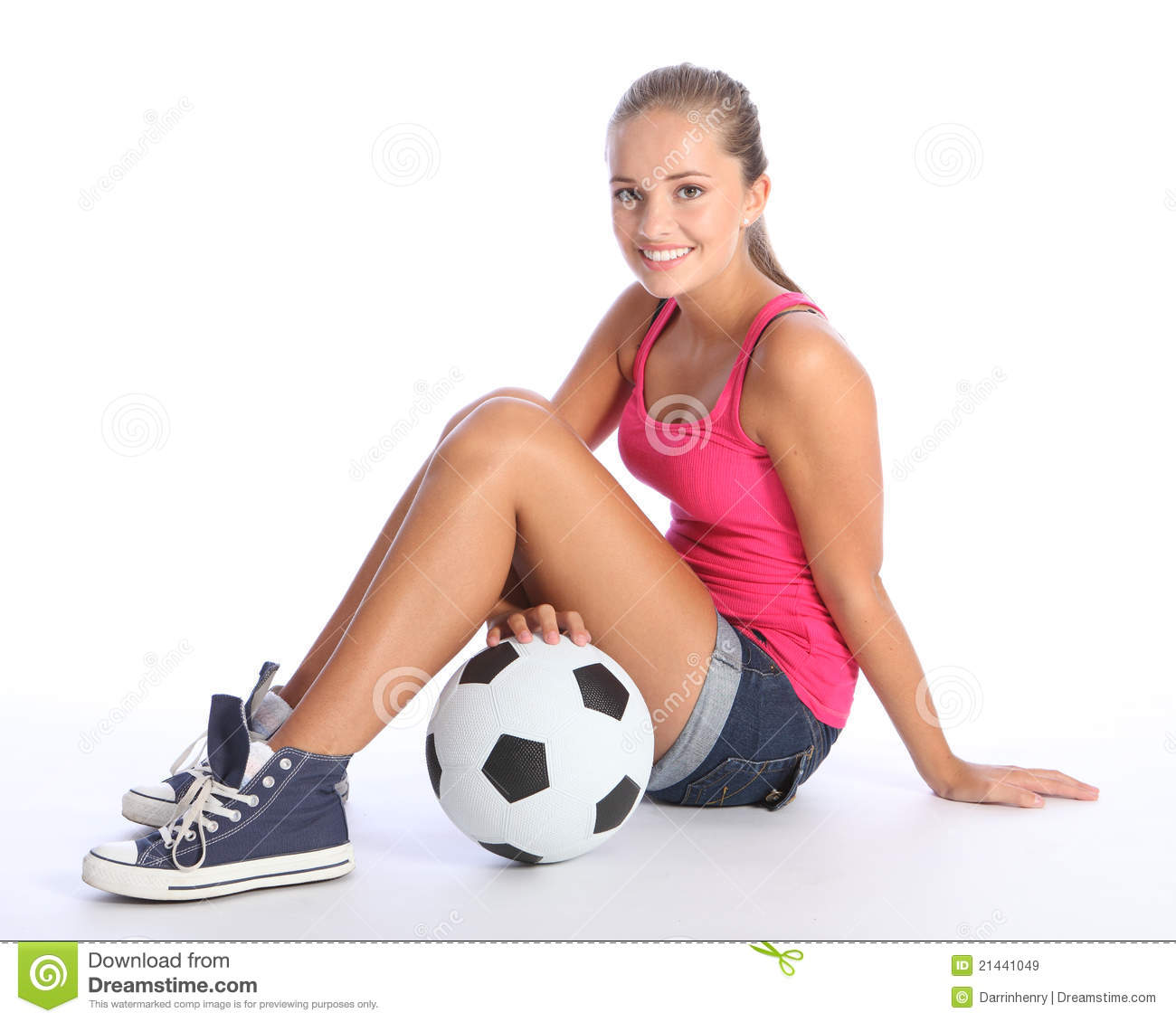 Beautiful Teenage Student Girl With Soccer Ball Royalty