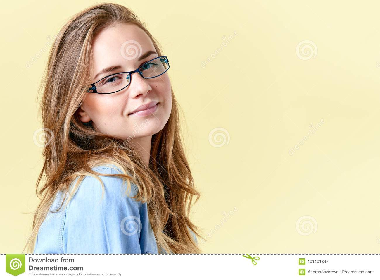 8987cb2d634 Beautiful teenager girl with ginger hair and freckles wearing reading  glasses