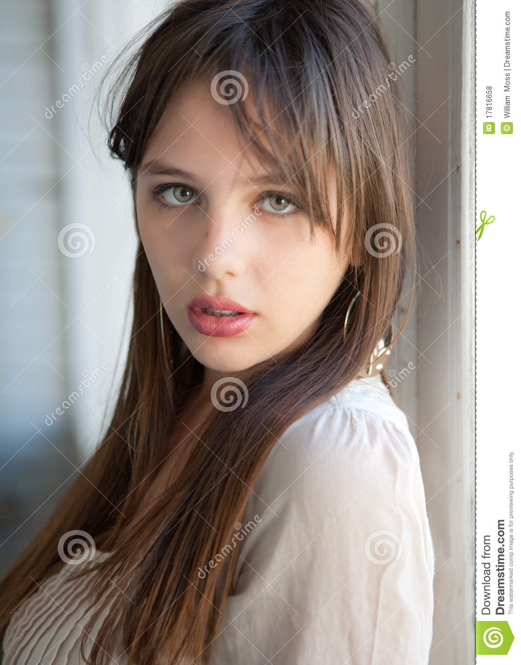 Beautiful Teenager With Green Eyes Stock Photo