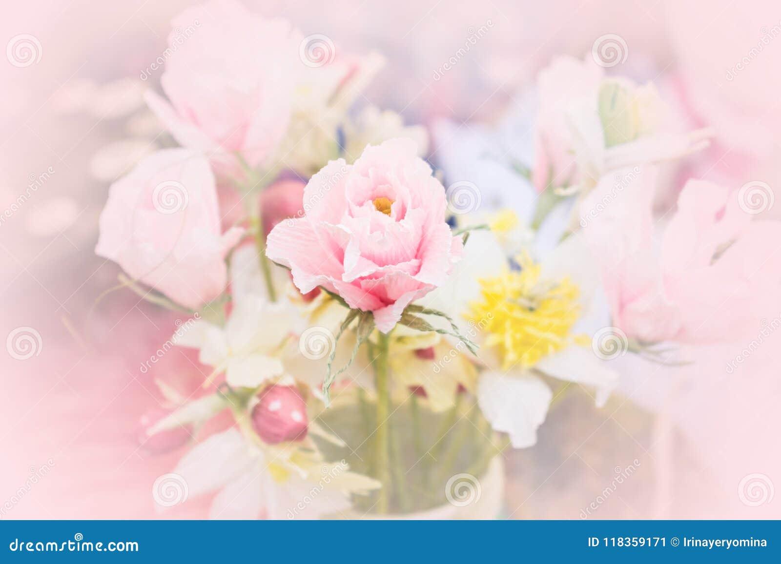 Beautiful Tender Bouquet From Crepe Paper Flower Pink Handmade