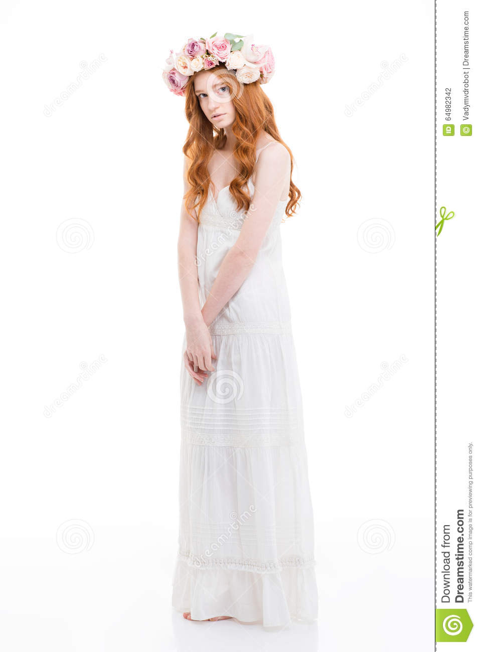 Beautiful Tender Woman With Long Red Hair In Flowers ...
