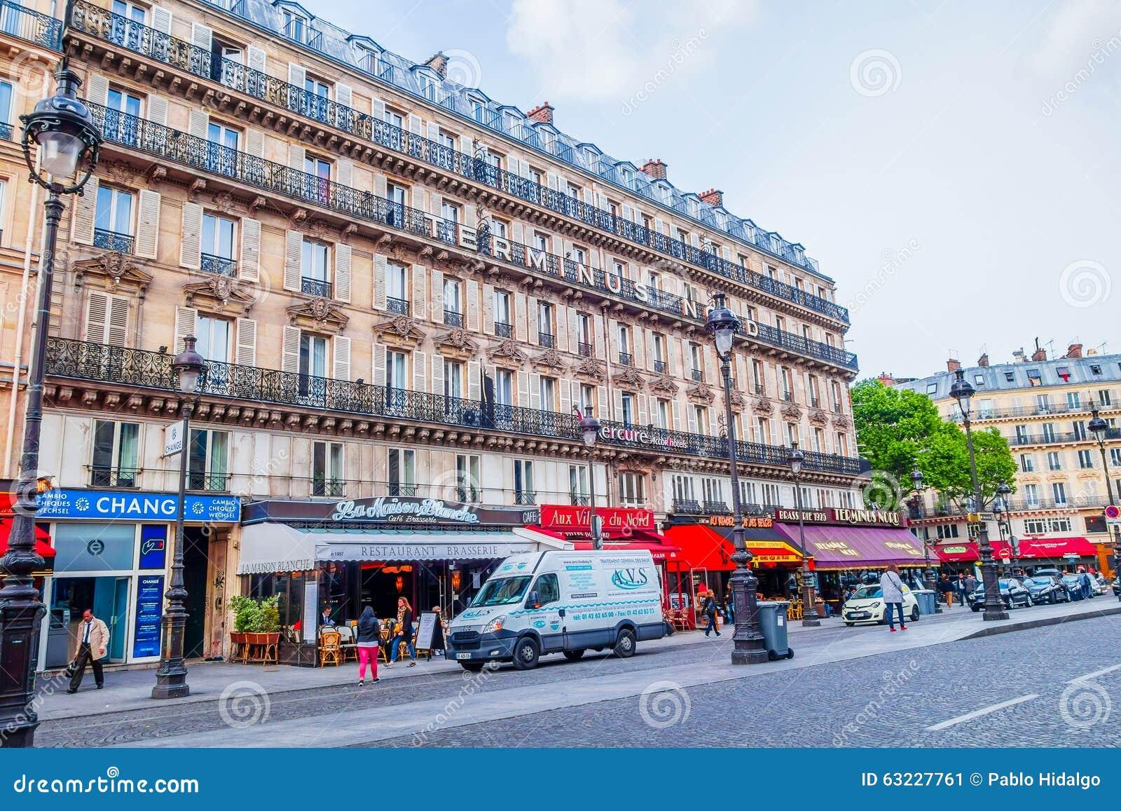 beautiful terminus nord hotel in paris editorial photo