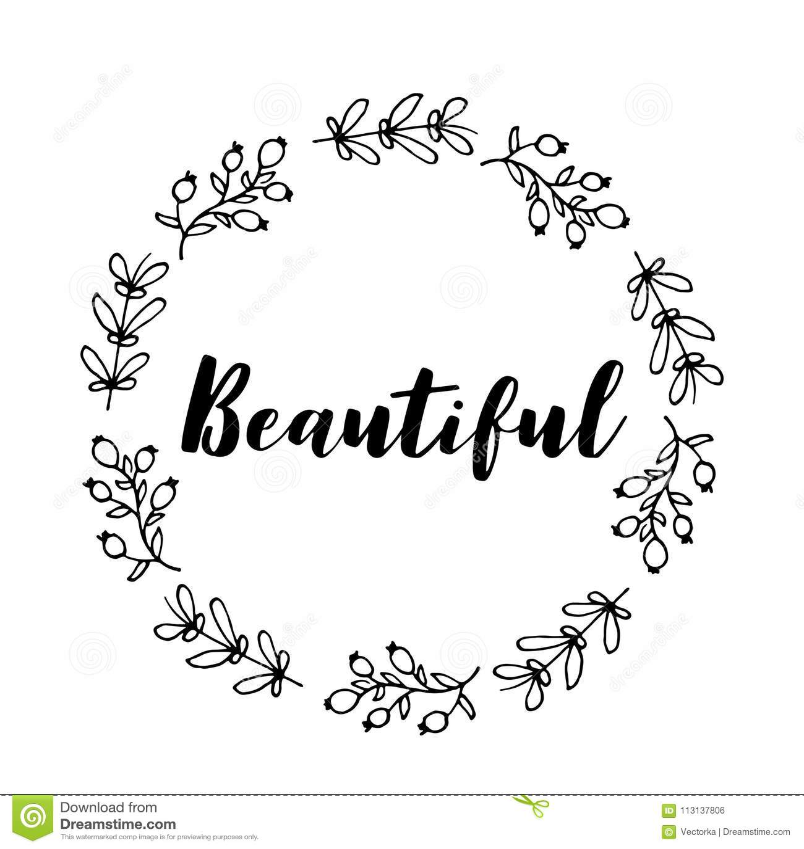 beautiful text flower wreath hand drawn laurel greeting card