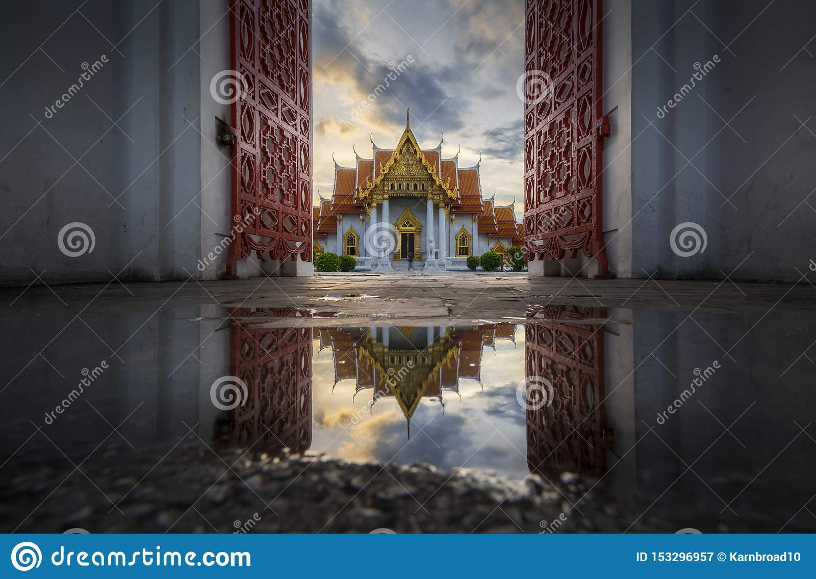 Beautiful Thai architecture of marble temple gate