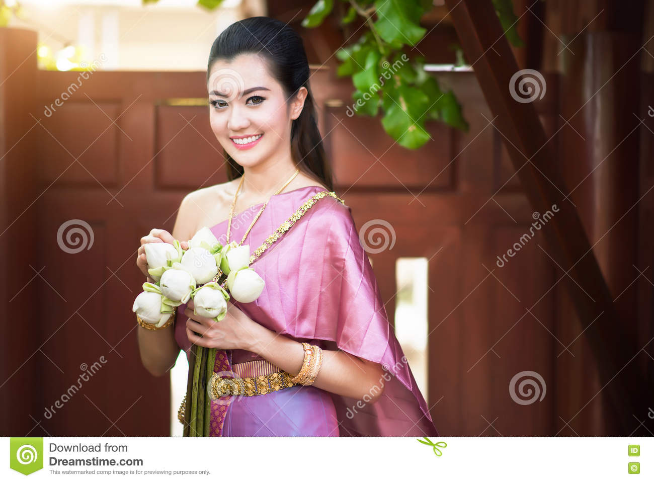 3f8ad5e60 Beautiful Thai Girl In Thai Traditional Costume Stock Photo - Image ...