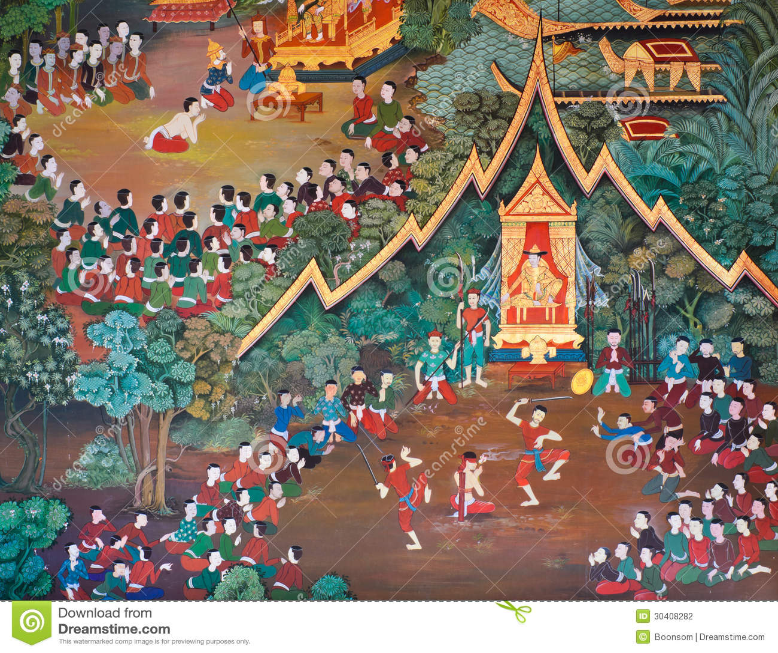 Beautiful thai mural stock photography image 30408282 for Beautiful wall mural