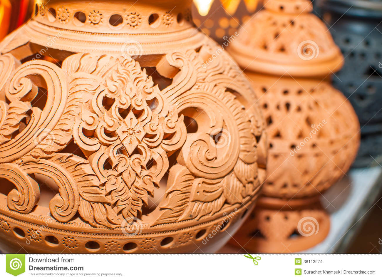 Beautiful Thai Style Designs On Pottery Stock Images
