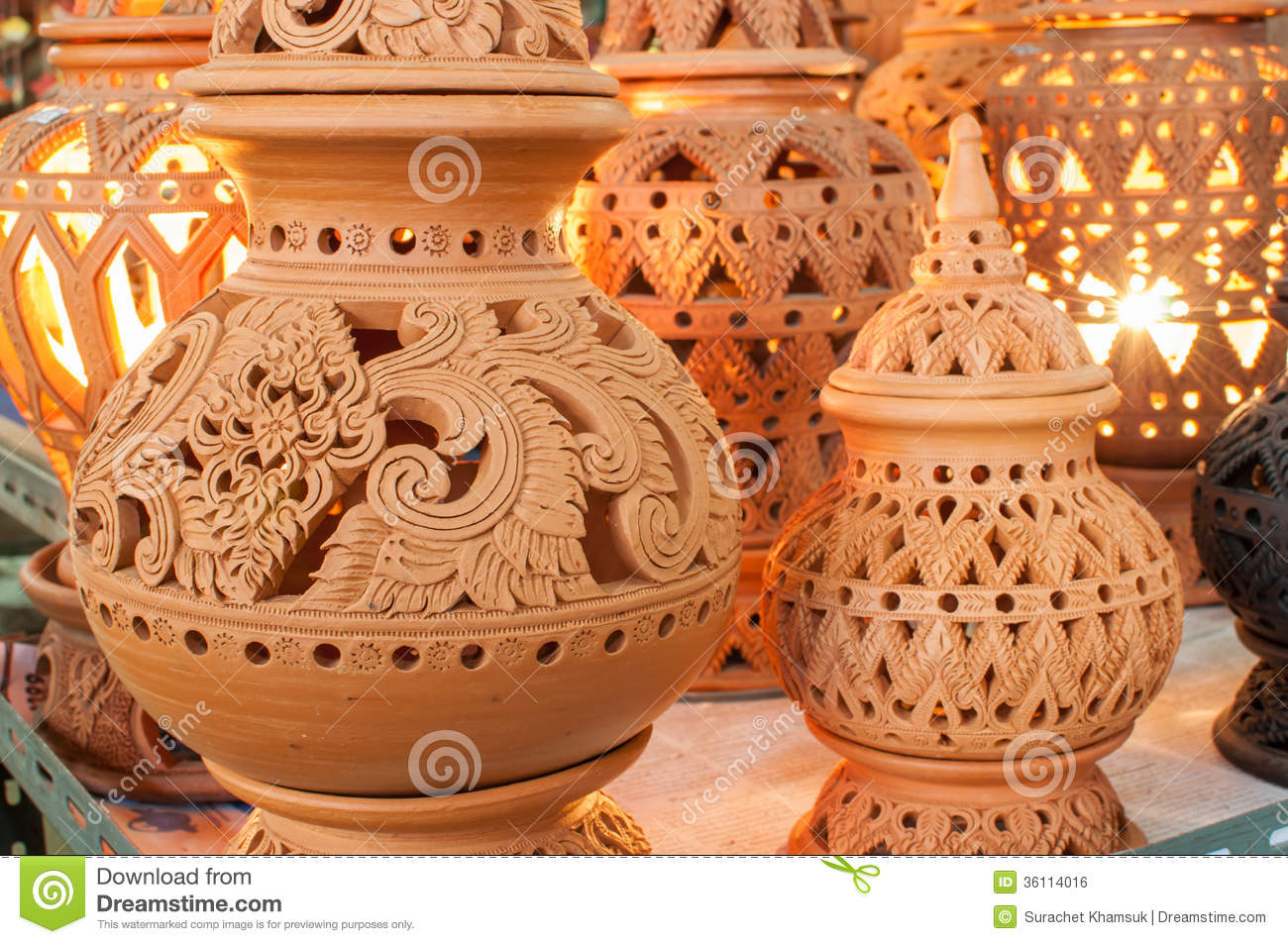 Beautiful Thai Style Designs On Pottery Stock Photo