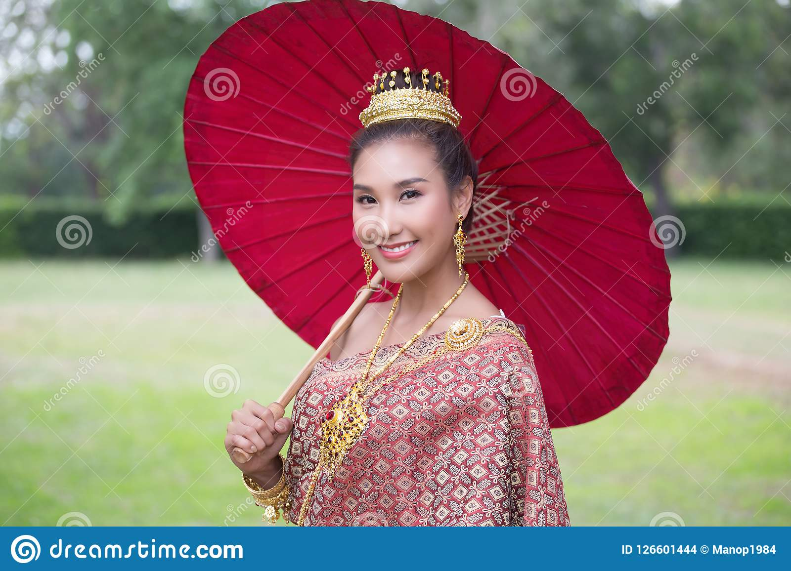 Asian Woman Wearing Traditional Thai People Stock Photo
