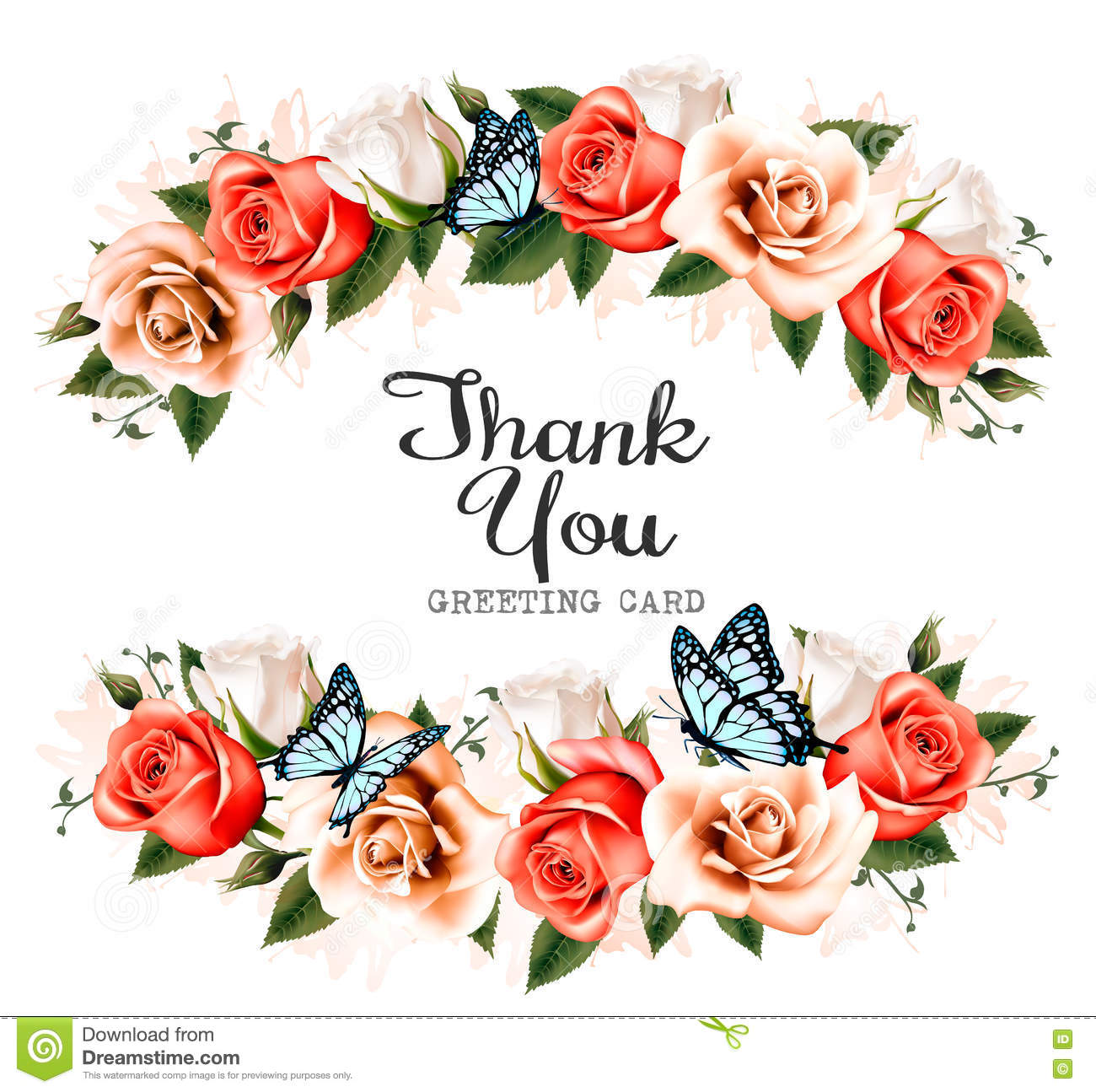 Beautiful thank you greeting card with roses and butterflies beautiful thank you greeting card with roses and butterflies kristyandbryce Choice Image