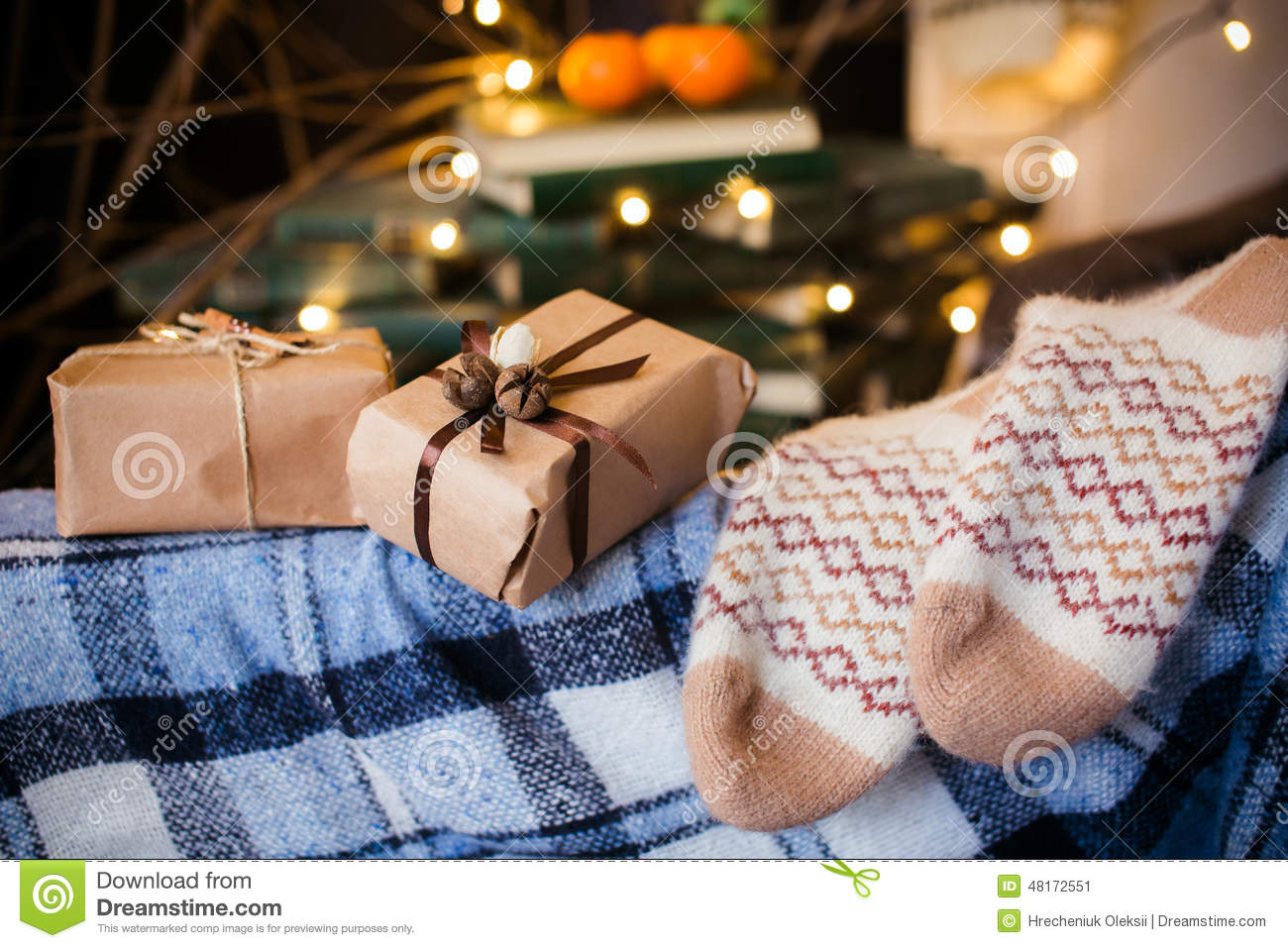 Beautiful Themed Gifts Lie On Vintage Chair Christmas Stock Image ...