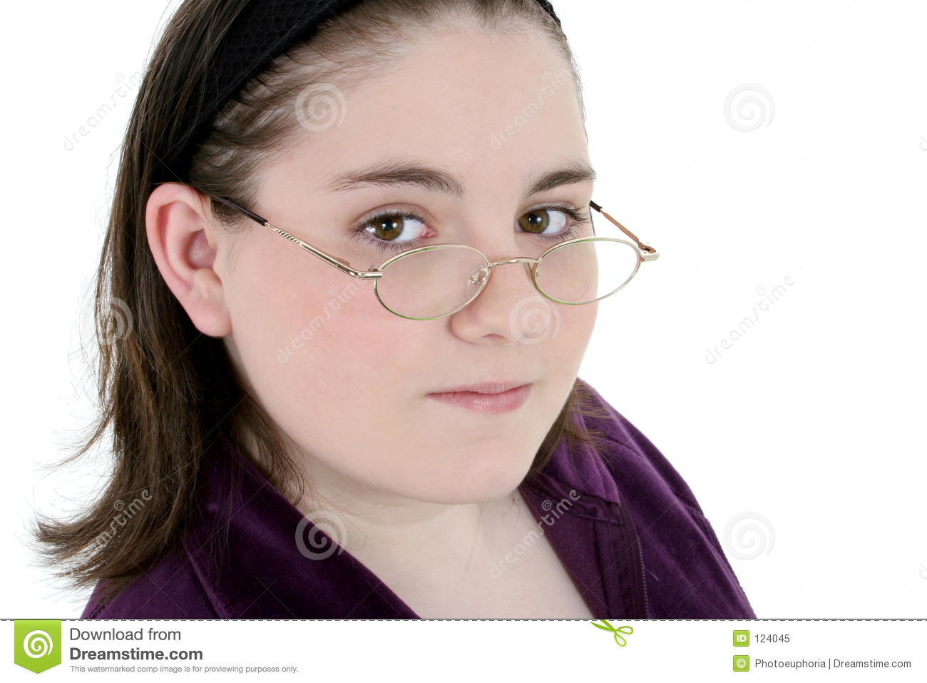 Beautiful Thirteen Year Old With Glasses Close-Up