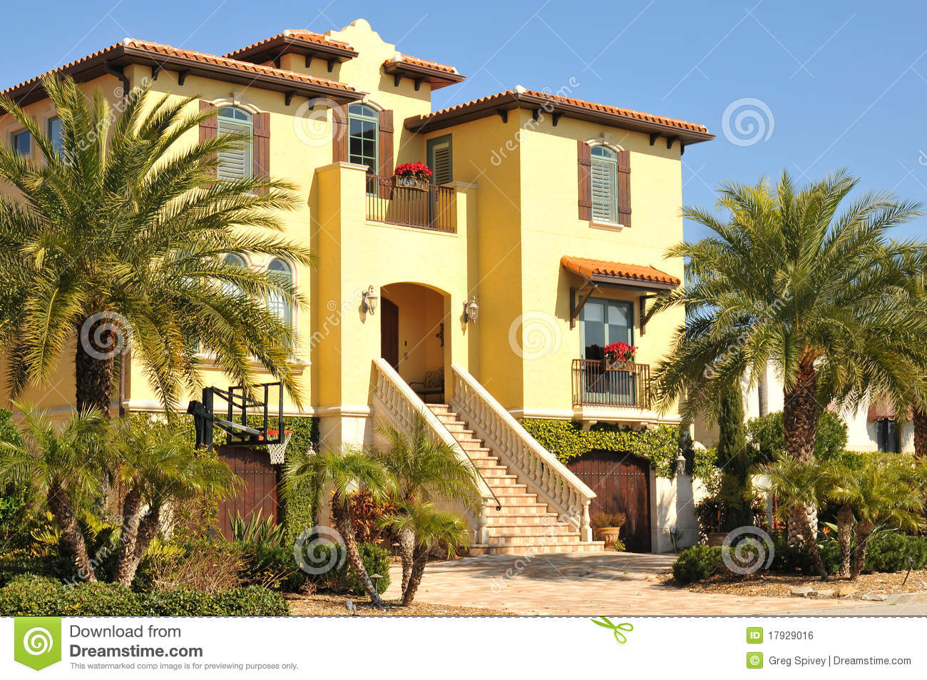Beautiful three story spanish home in florida royalty free - Maison du monde marseille ...