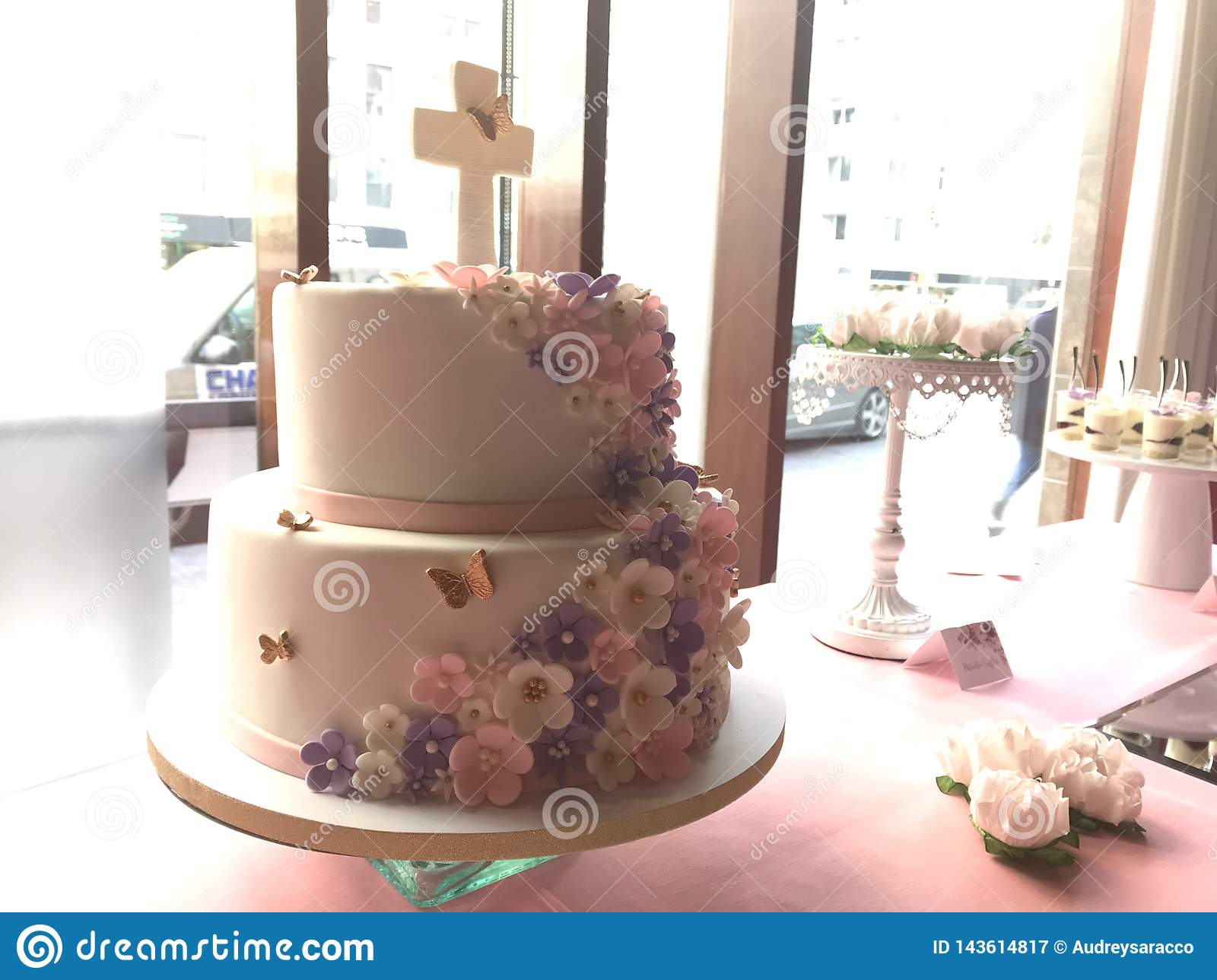A Beautiful 2 Tier First Communion Cake Stock Image Image Of