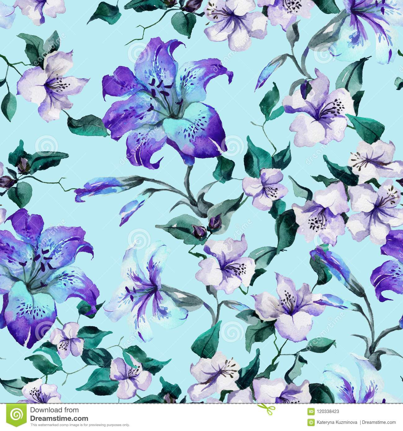 Beautiful Tiger Lilies On Twigs On Blue Background Seamless Floral