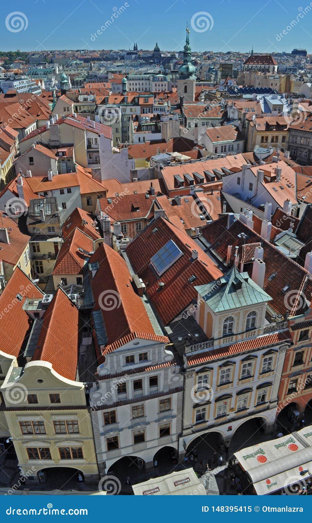 Beautiful top view of historical center of Prague, New Town Hall, Czech Republic