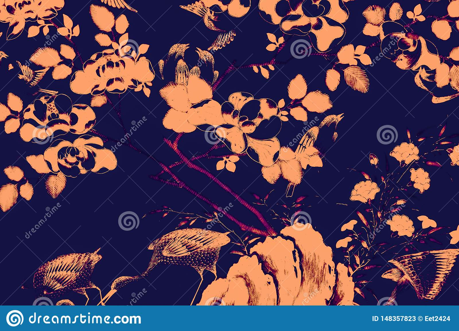 Beautiful tree bird and flowers art paintings color pink and black  illustration pattern background and wallpaper