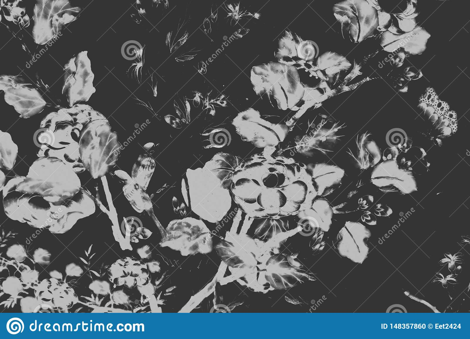 Beautiful tree bird and flowers art paintings color white and black  illustration pattern background and wallpaper