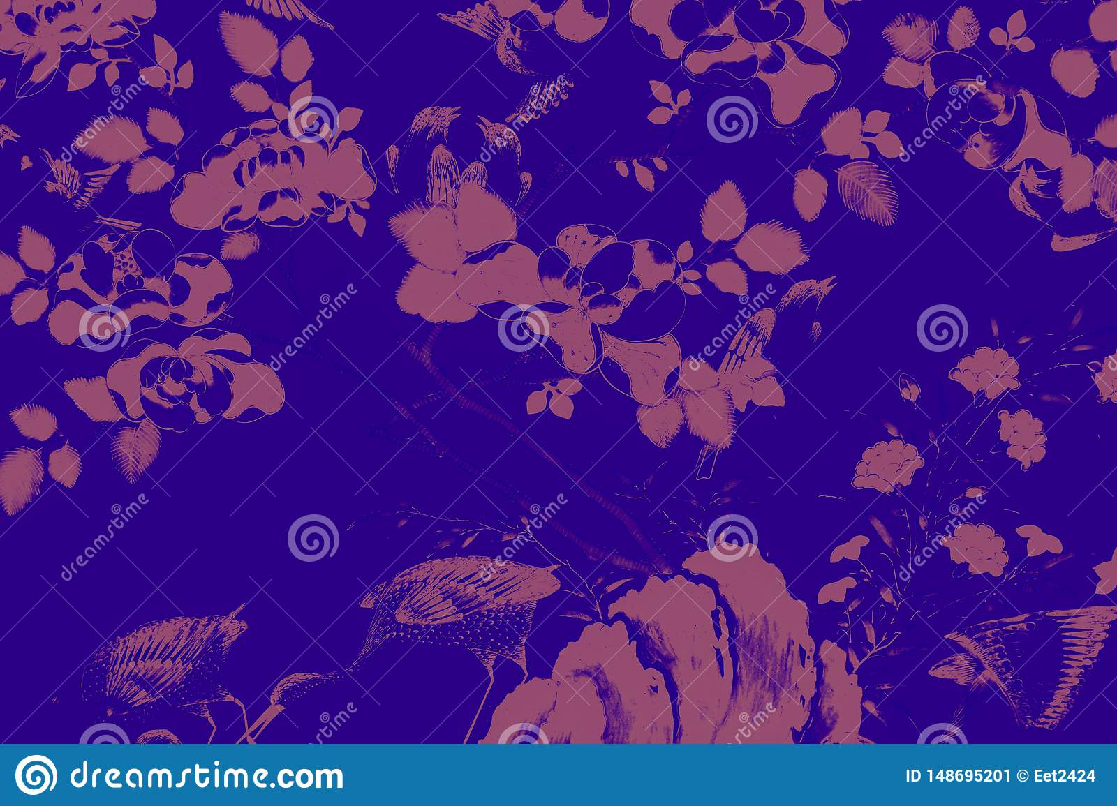 Beautiful tree bird and flowers art paintings colorful pink purple green orange white and black pattern background and wallpaper