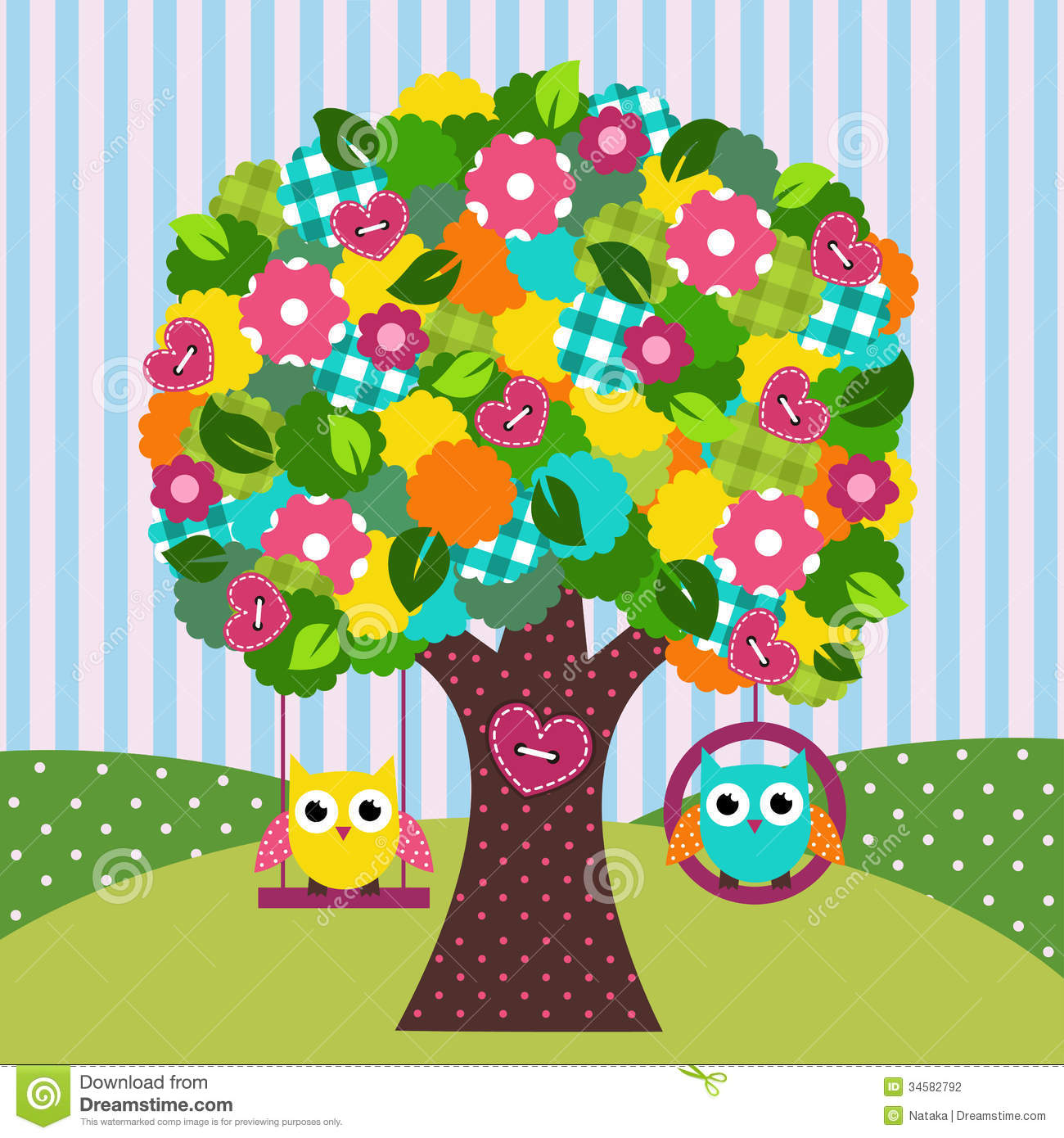 Beautiful Tree With Owls On Swings Stock Photography ...