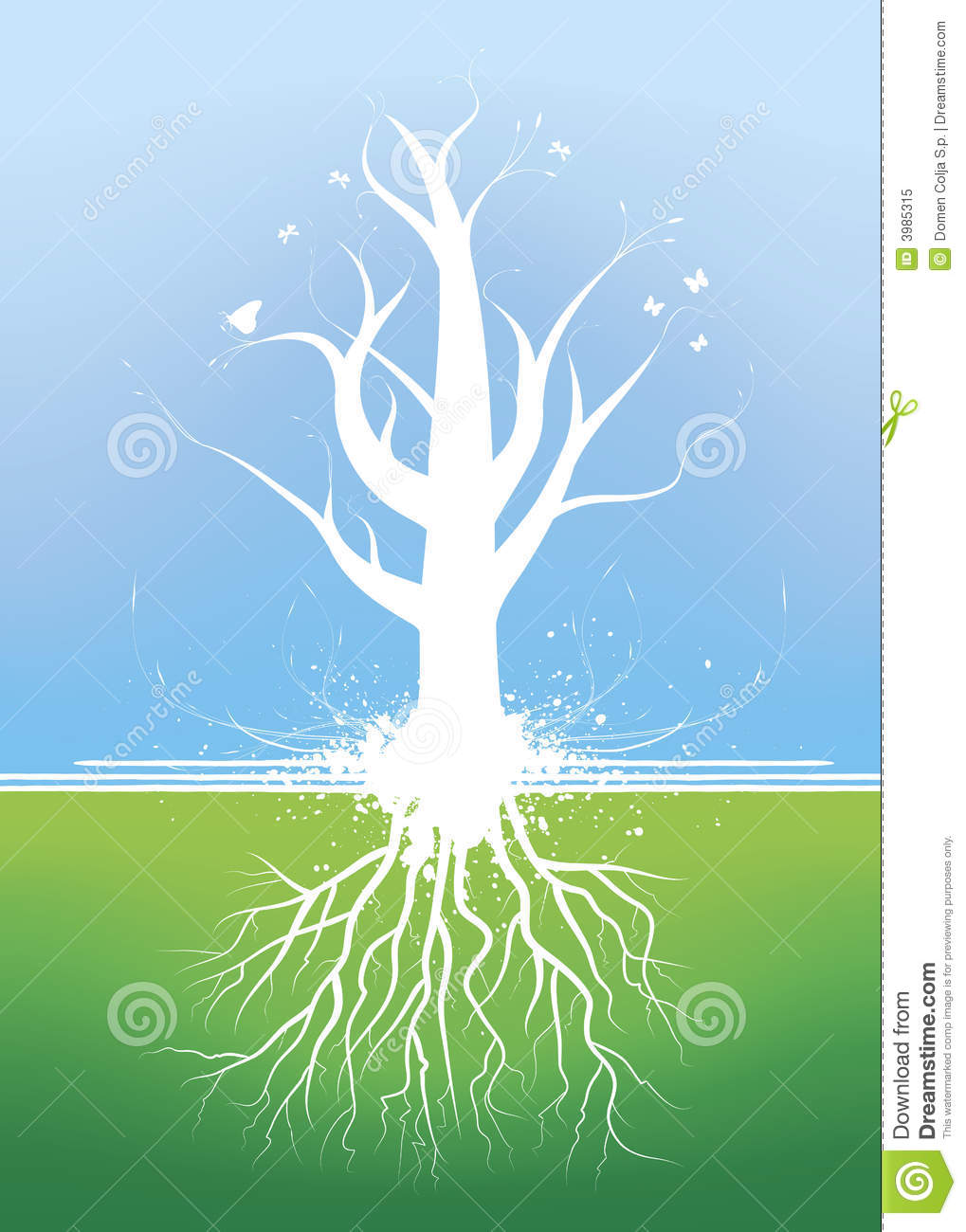 beautiful tree with roots stock vector image of blossom
