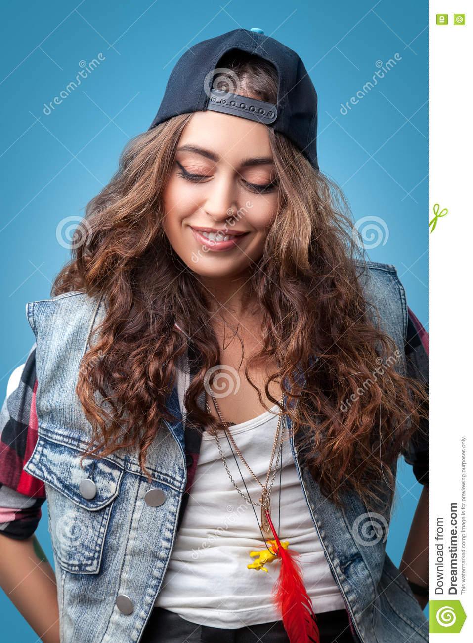 3378a12ef2 Portrait of beautiful trendy stylish hipster girl with long curly hair smiling  wearing red checkered shirt