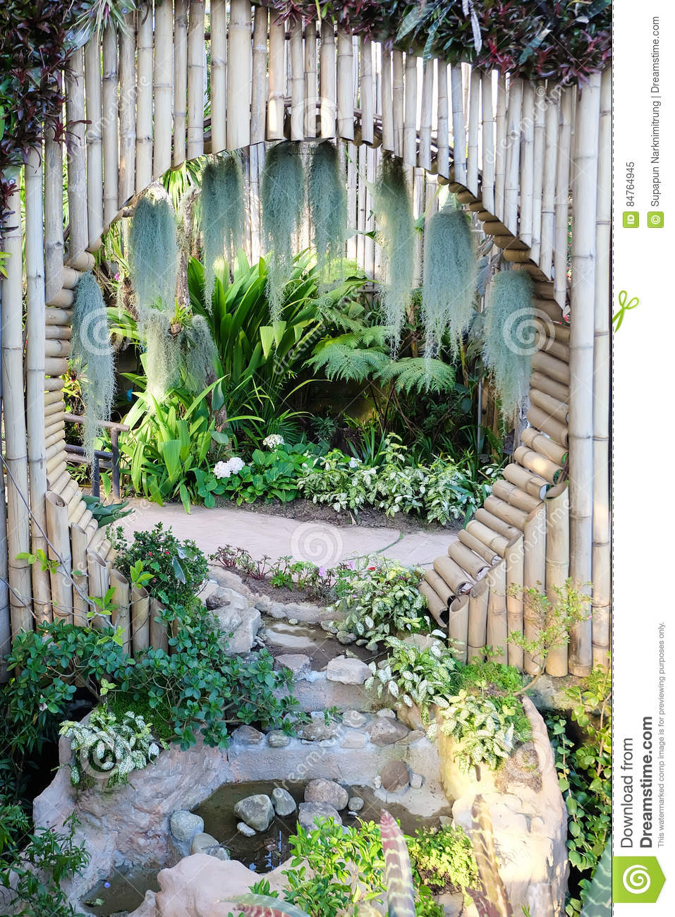 Beautiful Tropical Asia Style With Green Color Garden Idea With ...