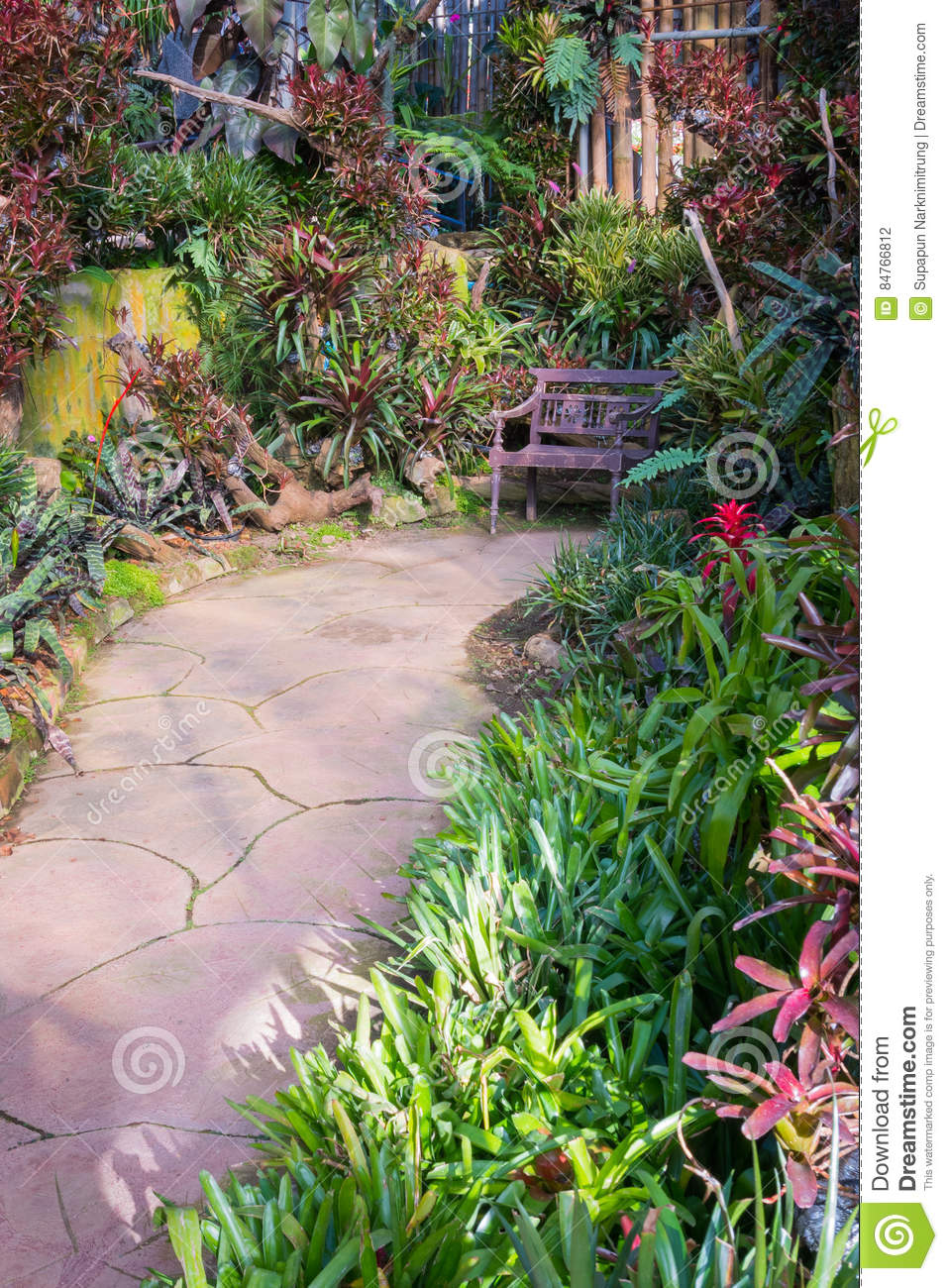 Beautiful Tropical Asia Style With Green Red Color Garden Idea With ...