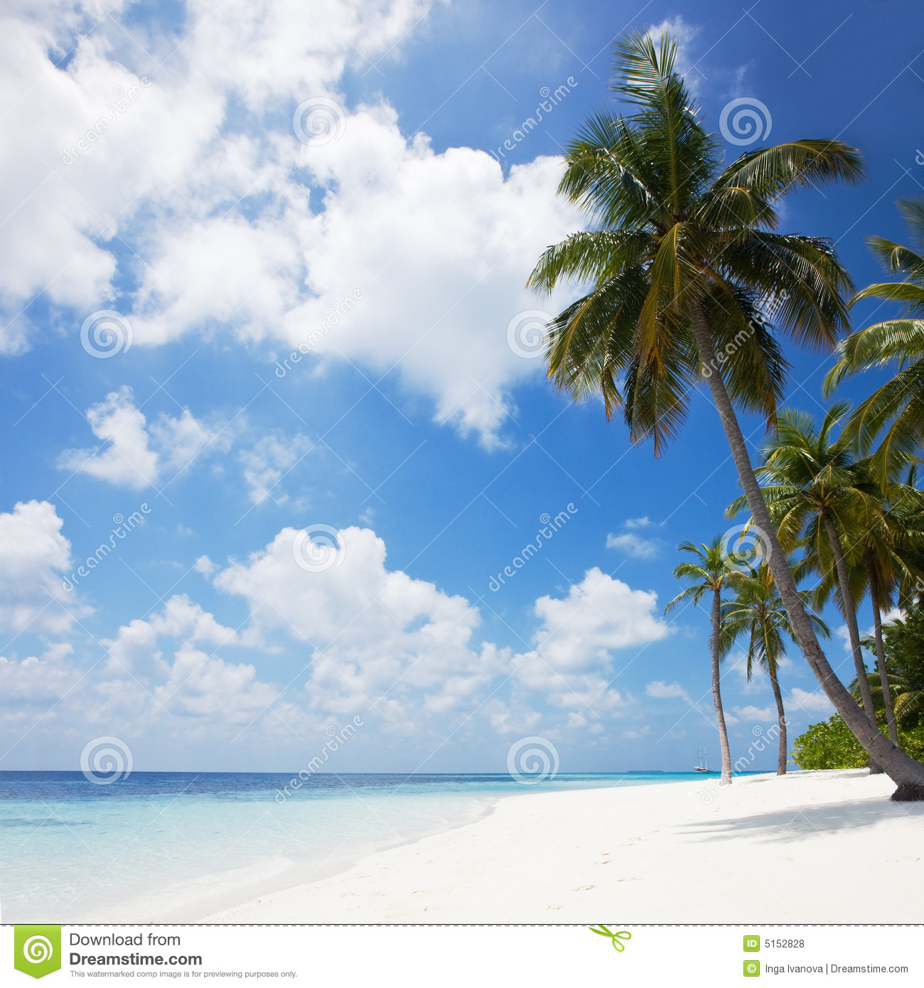 Beautiful Sunny Day At Tropical Beach Royalty Free Stock: Beautiful Tropical Beach Stock Photo. Image Of Paradise