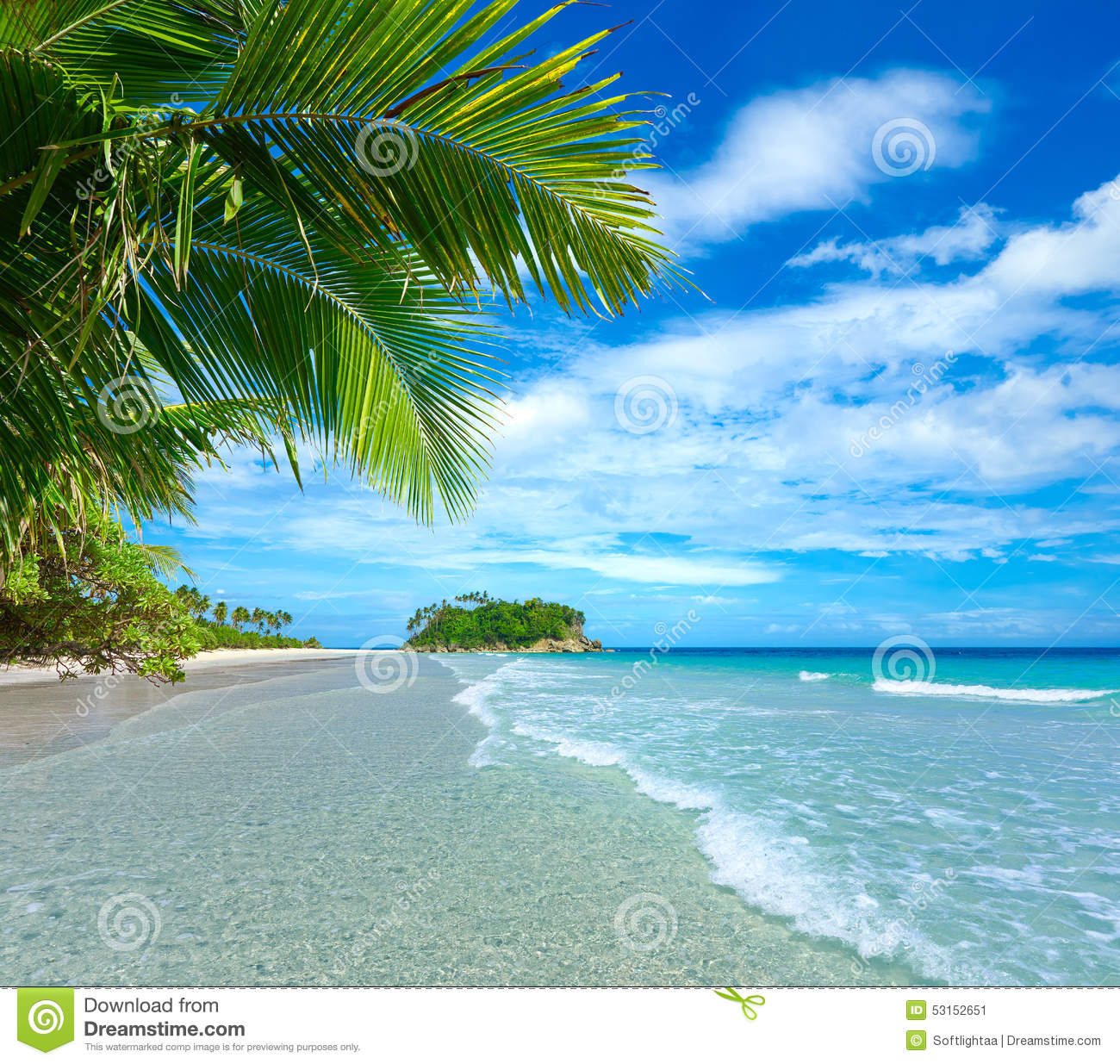 Beach Island: Beautiful Tropical Beach On The Background Of Island Stock