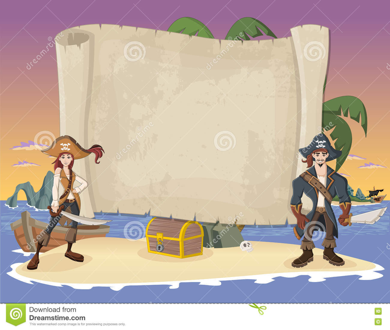 Beautiful tropical island with cartoon pirates vector