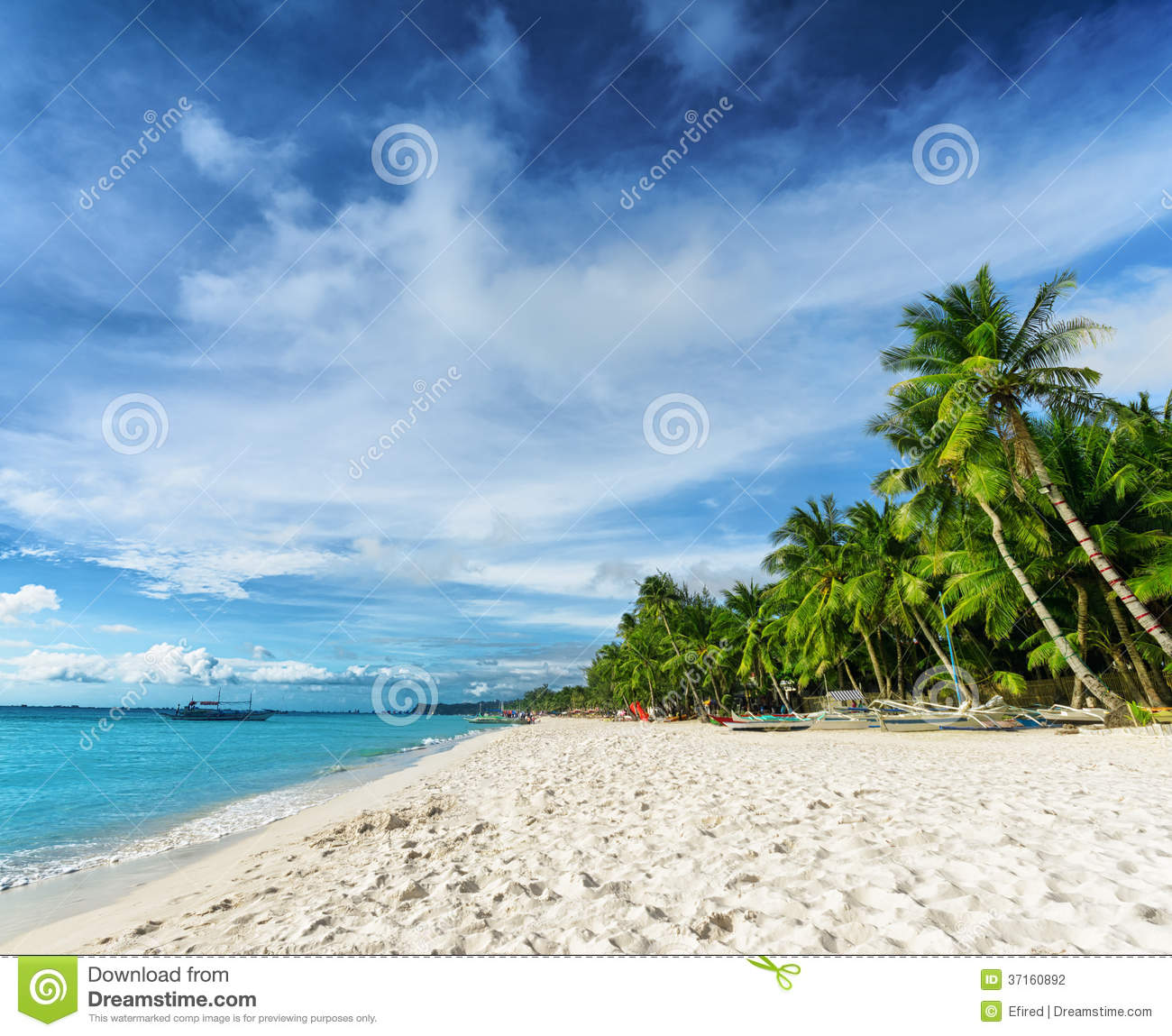 Exotic Beach: Beautiful Tropical Beach And Blue Sky Stock Photo