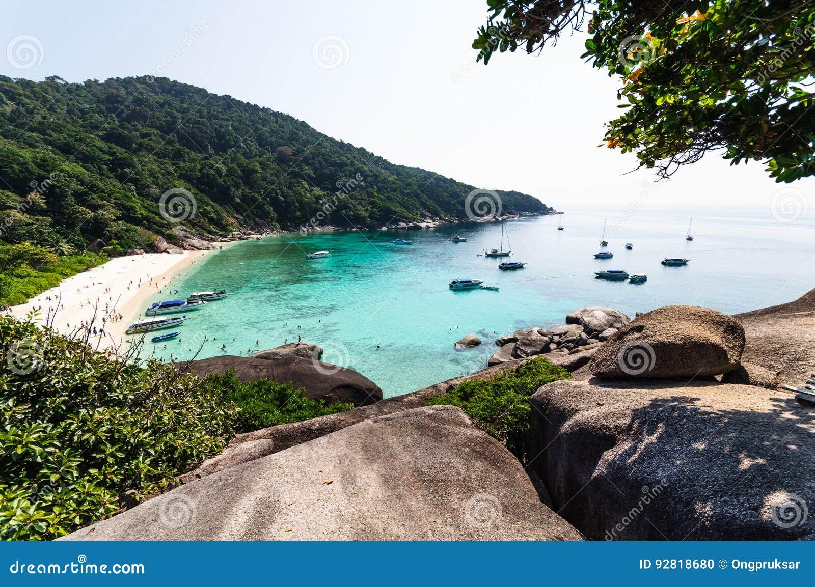 Beautiful tropical beach and blue sky background. Similan Island