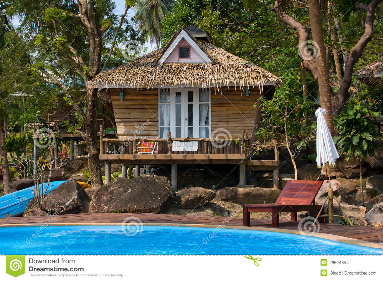 Tropical Island Beach House: Beautiful Tropical Beach House In Thailand . Stock Photo
