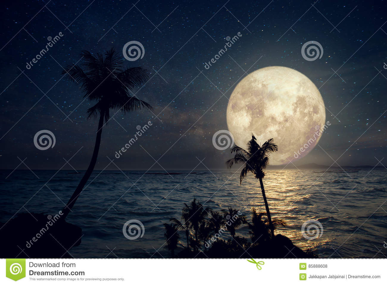 Beautiful tropical beach with milky way star and full moon in night skies.