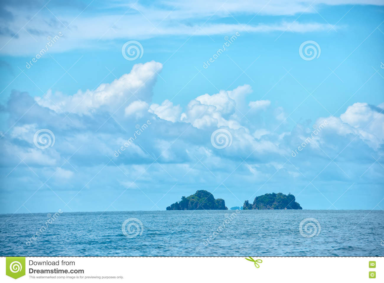 Tropical Island Beach Ambience Sound: Beautiful Tropical Blue Ocean And Clouds On Sky With Two