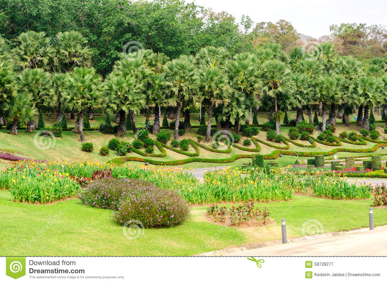 beautiful tropical garden design in thailand royalty free stock photography