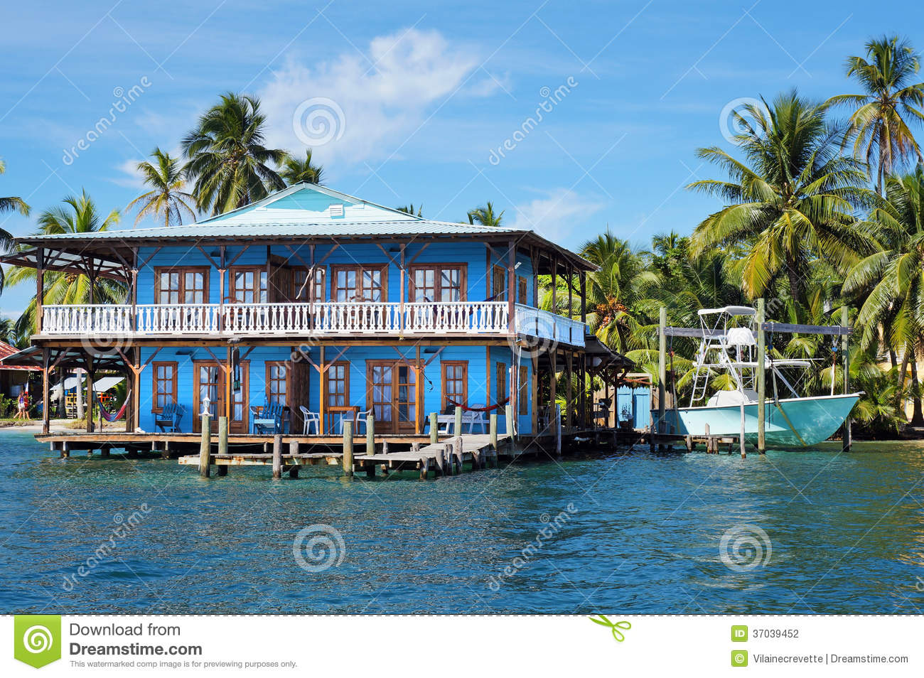 beautiful tropical house on stilts in the caribbean stock
