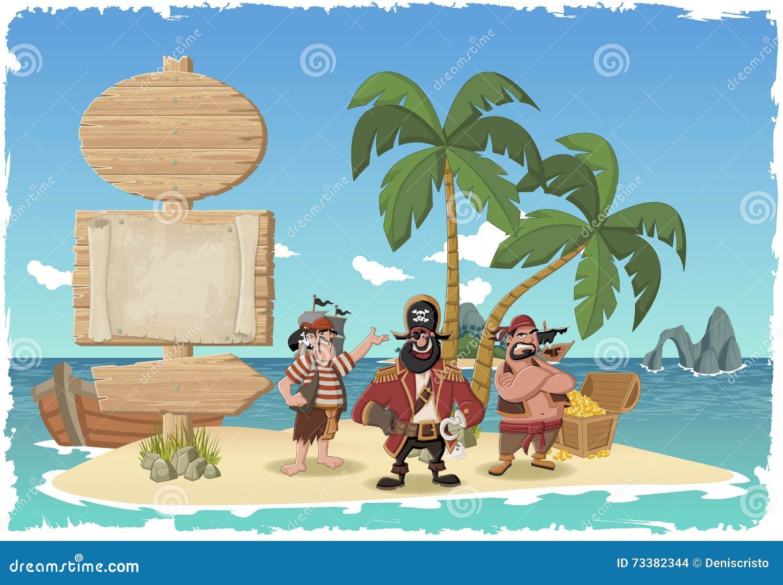 Tropical Island Cartoon: Beautiful Tropical Island With Cartoon Pirates. Vector