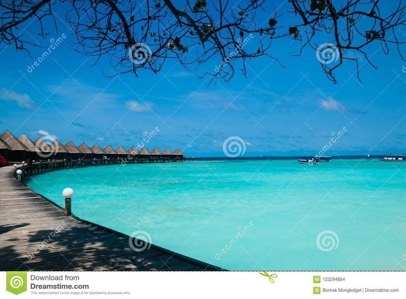 Beautiful Tropical Maldives Resort And Island With Beach And