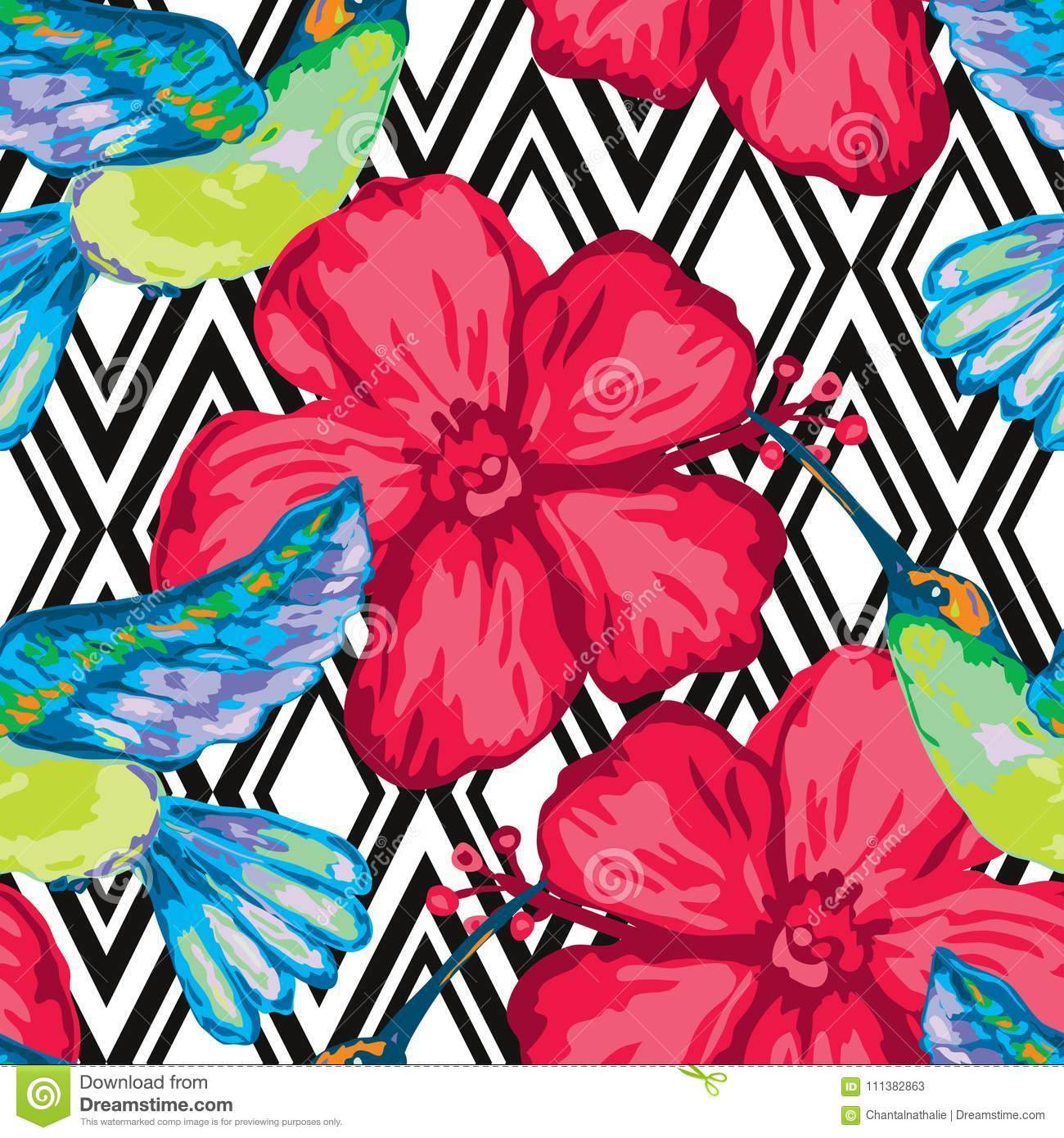 Beautiful Tropical Seamless Pattern Stock Vector Illustration Of