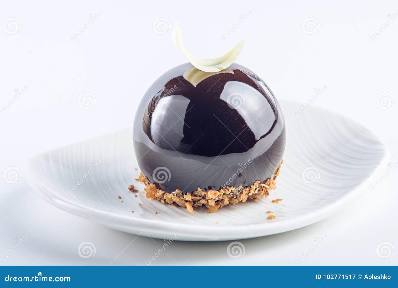 Beautiful Truffle Cake Covered With Glossy Dark Chocolate Glaze