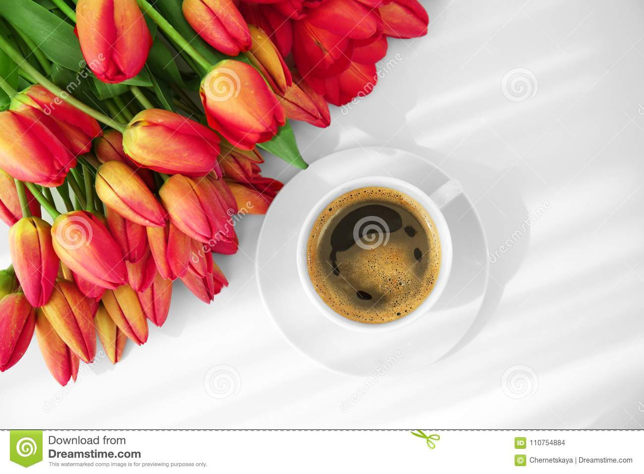 Beautiful Tulip Flowers And Cup Of Coffee Stock Photo Image Of