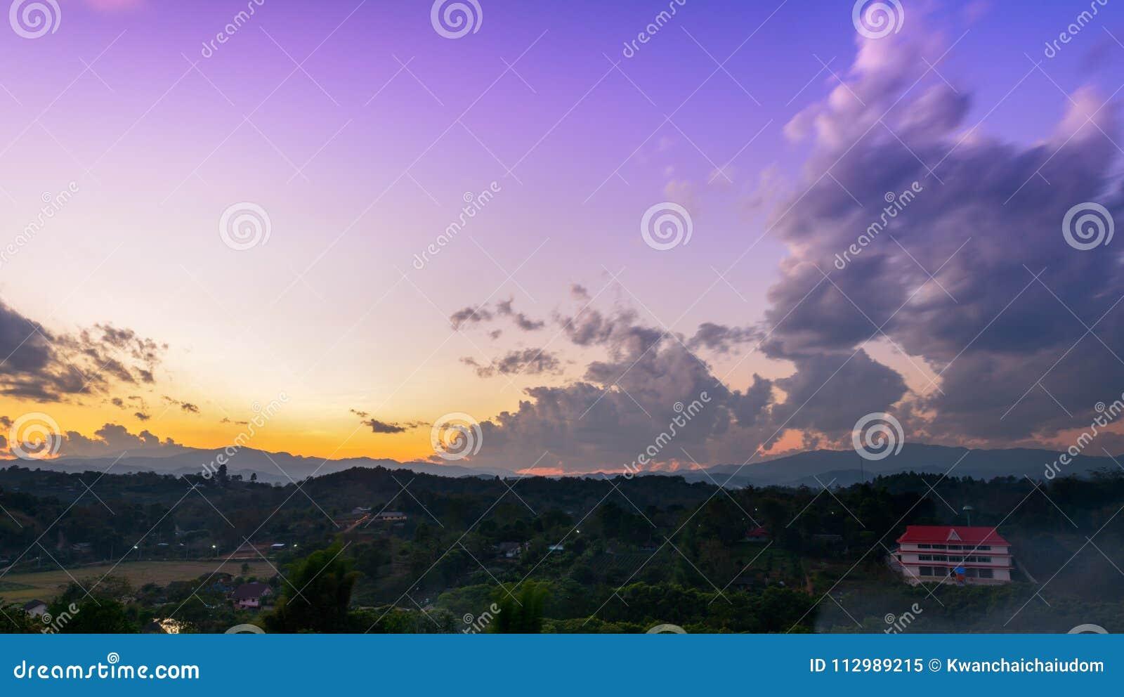 Beautiful twilight sky on mountain