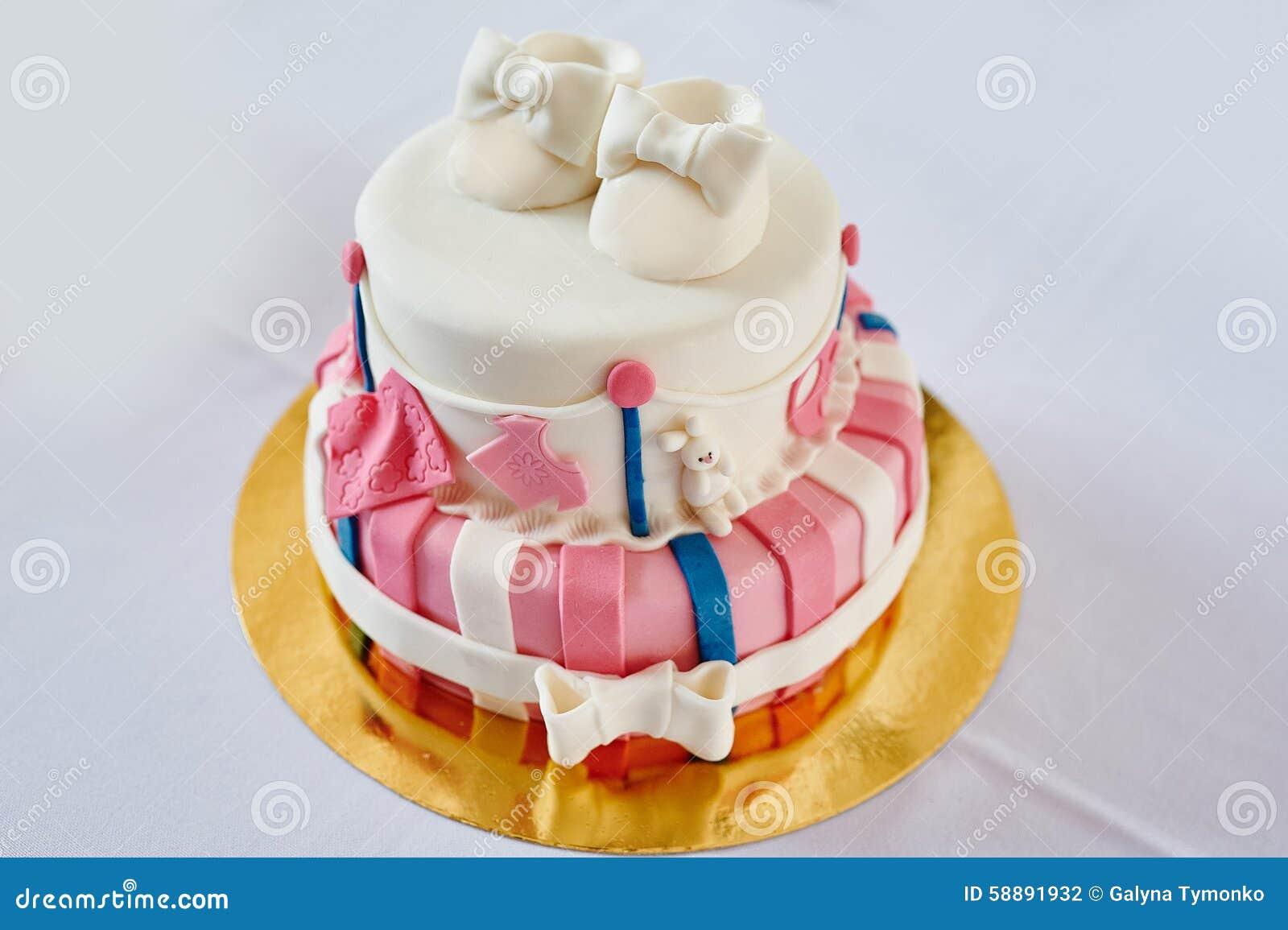 Beautiful Two Layer Pink And White Birthday Cake Stock Photo Image