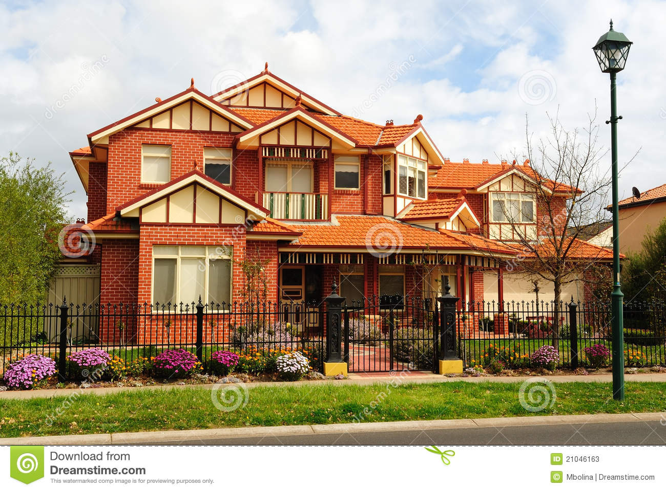 Beautiful two story brick home stock photos image 21046163 for Beautiful double story houses
